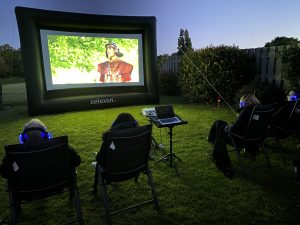 small outdoor cinema hire for garden party