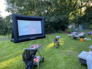 outdoor cinema for home garden party